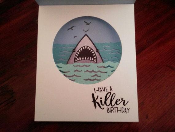Killer Birthday Card Shadow Box Shark Birthday Card Summer Etsy