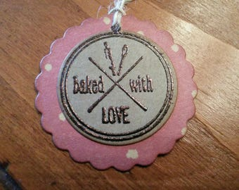 Baked With Love Embossed Tags, Food Item Tags, Bake Sale Tags, Bakers Dozen Kraft Tags