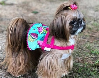 Dog Harness Dress Cupcakes Bow XS