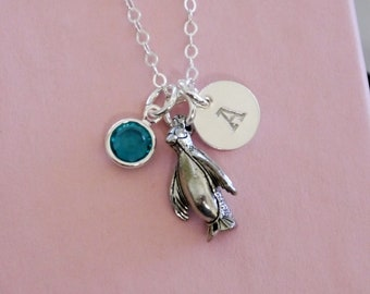 Penguin Necklace, Personalized Penguin Necklace, Penguin Necklace with Initial, Letter Birthstone, Initial Disc, Custom, Silver, Cute