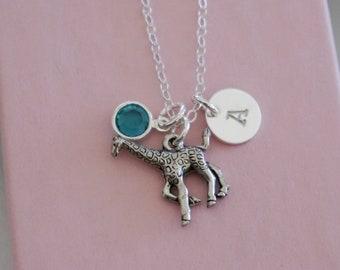 Giraffe Necklace, Personalized Giraffe Necklace, Giraffe Initial Necklace, Silver Giraffe Necklace, Giraffe Jewelry, Giraffe Gifts, Custom