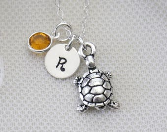Personalized Turtle Necklace, Turtle Initial Necklace, Turtle Necklace, Tortoise Necklace, Silver Turtle Necklace, Initial Birthstone