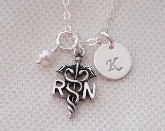 RN Graduation Gift, RN Necklace, rn Jewelry, Registered Nurse Necklace, Registered Nurse Gift, Personalized rn, rn charm necklace, Custom