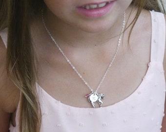 Girls Horse Necklace, Girl Horse Necklace, Horse Necklace, Pony Necklace, Personalized Horse Necklace, Horse Initial Birthstone, Custom