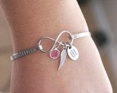 A piece of my heart is in heaven, Angel Wing Bracelet, Infinity Bracelet, Birthstone Bracelet, Personalized, Memorial, Sympathy, Remembrance