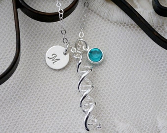 DNA Necklace, Personalized DNA Necklace, DNA Jewelry, dna gifts, Genetics Necklace, Chemistry Gifts, Science Gifts, Letter Birthstone