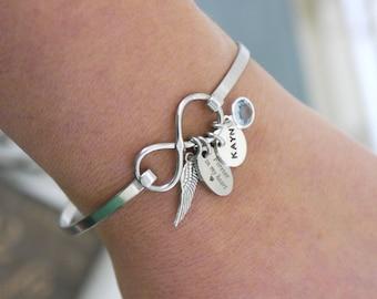 Angel Wing Infinity Bracelet, Personalized Wing Bracelet, Forever in my heart, Name Disc Bracelet, Memorial Gifts, Birthstone Bracelet