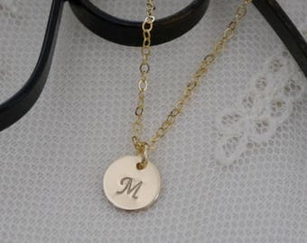 Tiny Initial Necklace, Gold Initial Necklace, Gold Disc Initial Necklace, Disc Necklace, Coin Necklace, Initial Necklace, 14k gold filled