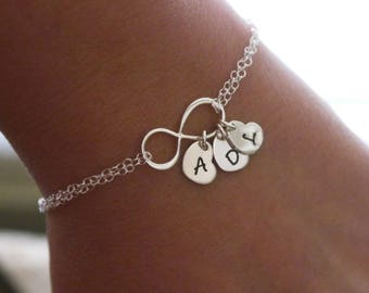 Infinity Initial Bracelet, Sterling Silver Infinity Bracelet, Personalized Infinity Heart Bracelet, Infinity Bracelet with Initial Hearts