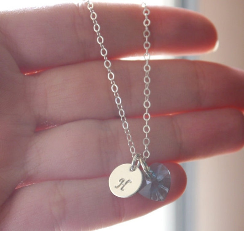Initial Disc Heart Birthstone Initial Heart Necklace Heart Initial Necklace Heart Birthstone Custom Letter Birthstone Dainty Initial