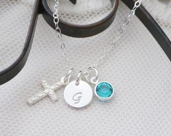First Communion Necklace, Personalized Cross Necklace, Sterling Silver Cross Necklace, Letter Birthstone Cross, Dainty, Baptism Gifts Girls