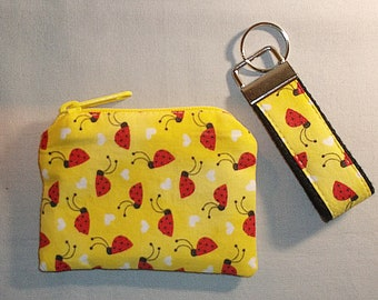 Lady bug coin purse with matching keychain, coin purse, keychain, lady bug keychain, yellow with lady bugs, coin purse and keychain set