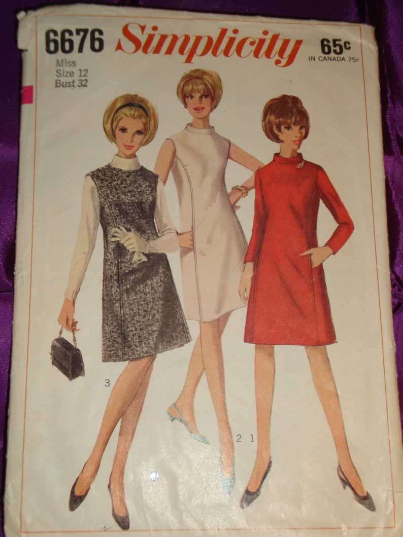 120be667e2 60s Mod Dress or Jumper w Side Panels Low Round Neck or Mandarin Collar  Sleeveless n Long Sleeves CMPLT Simplicity 6676 Bust US 32 Europe 81