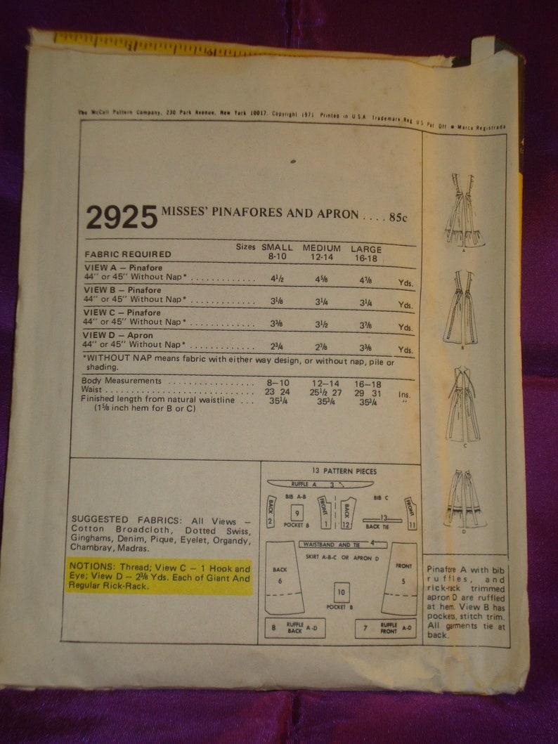 70s Prairie Mid Calf Lgth Pinafore Bib Apron Opt Ruffled Bib n Hem n Half Apron w Ruffled Hem CMPLT McCalls 2925 Waist US 25.5 27 CM 65 69