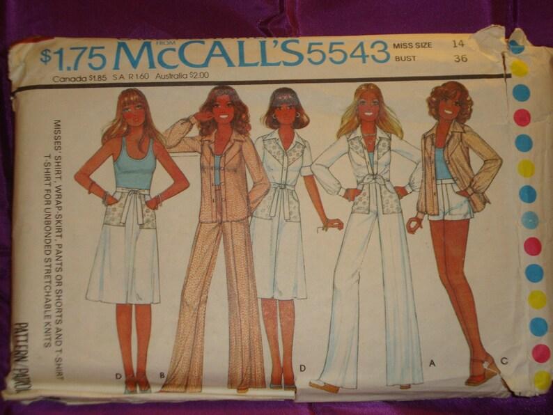 333cbad88916 70s Separates Short n Long Slv Shirt Wide Straight Leg Pants