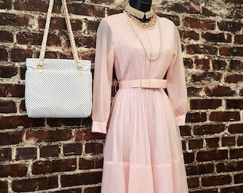 "1960s Pink Chiffon Party Dress. Sheer Sleeves, Full Skirt. Vintage 1950s 50s Style Dress in Pastel Pink with Bow Belt 26"" Waist"