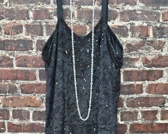"Black Beaded Flapper Dress, Size Extra Large. Drop Waist Slip Dress. Plus Size Vintage. Black Lace and Sequin Party Dress. XL, 48"" B, 48"" W."