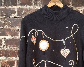 ugly cute christmas sweater black turtleneck sweater embellished with beads sequins ornaments stars 80s 90s long oversized sweater xl - Black Metal Christmas Sweater