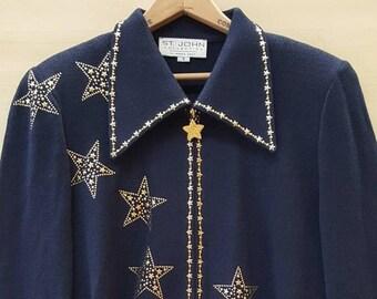 "90s St John Knit Cardigan. Navy Blue with Gold Stars Zip Up Cardigan Blazer. Preppy Nautical Suit Jacket. Women's Medium, 40"" Bust, Size 10."