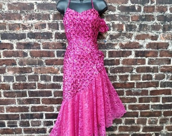 1980s Hot Pink Sequined Prom Dress. Lace Tulle 80s Prom Dress with Asymmetrical Hem and Side Bow. New Leaf by Samir Size Small, 32B, 28 W.
