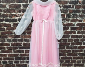 1960s Pink Maxi Dress with Flower Appliques and Sheer Sleeves. Daisey Floral Dress. Bubble Gum Pink Dress. Size Extra Small, 26 Waist.