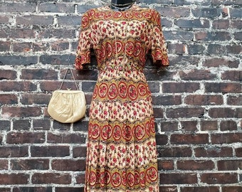 1930s Floral Dress. Drop Waist Day Dress with Belt. Red and Beige Rose Print. Lightweight Rayon Short Sleeve Dress. Extra Small, 32B 24W