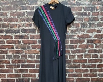 """1940s Sequined Dress. Black Rayon Dress with Pink Green Purple Sequin Diagonal Stripes. Peck & Peck Fifth Ave. Size Small, 26"""" W, 36"""" B"""