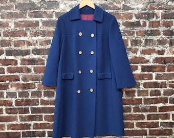 1960s Blue Wool Coat. Double Breasted Button Front Coat. 60s A-Line Swing Coat with Collar. Size Medium.