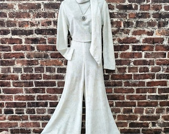 """1960s Silver Knit Wide Leg Pants Set. Paisley Floral Lurex Long Sleeve Shirt and High Waisted Pants with Sash. Small 28""""-30"""" Waist."""