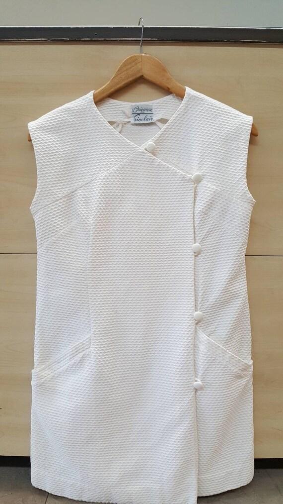 1960s White Cotton Mini Dress. Textured Mod A-Line
