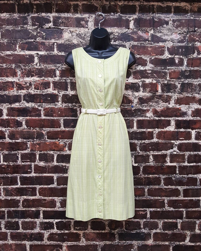 4aeb910c3a 1960s Green Plaid Dress by Saks Fifth Avenue. Cotton