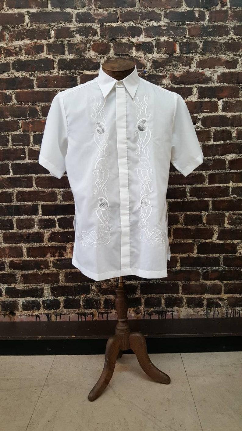 abc2c67a White Guayabera Shirt. Mens Short Sleeve Mexican Wedding Shirt | Etsy