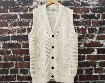 1980s Aran Cable Knit Sweater Vest. Button Front Long Cardigan Vest. Cream Wool Fisherman's Sweater Vest. Blarney Woolen Mills. Men's Medium