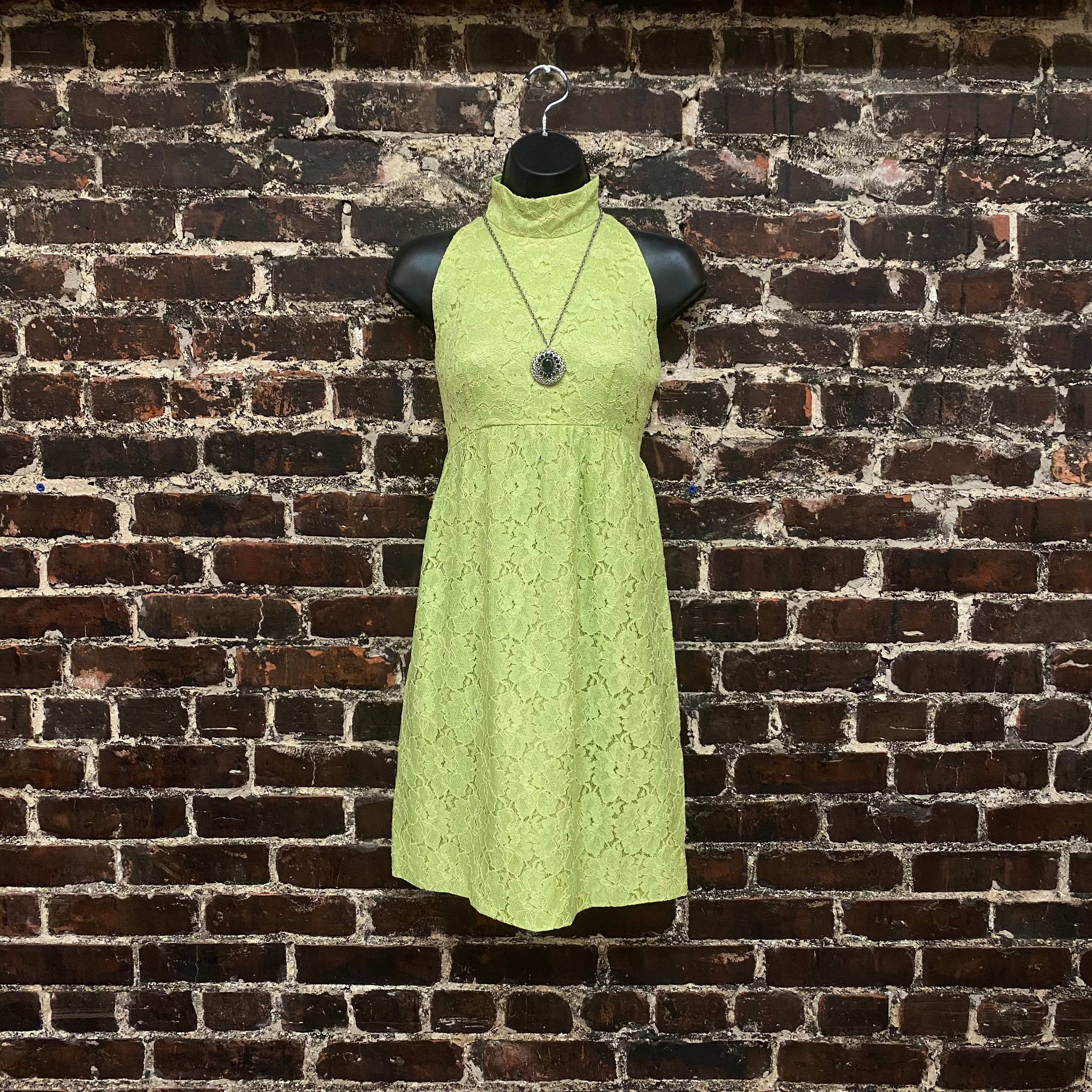 60s -70s Jewelry – Necklaces, Earrings, Rings, Bracelets 1960S Lace Mini Dress. Lime Green Mock Neck 60S Sleeveless Turtleneck Dress By Irving Nadler. Womens Extra Small, 34 Bust $0.00 AT vintagedancer.com