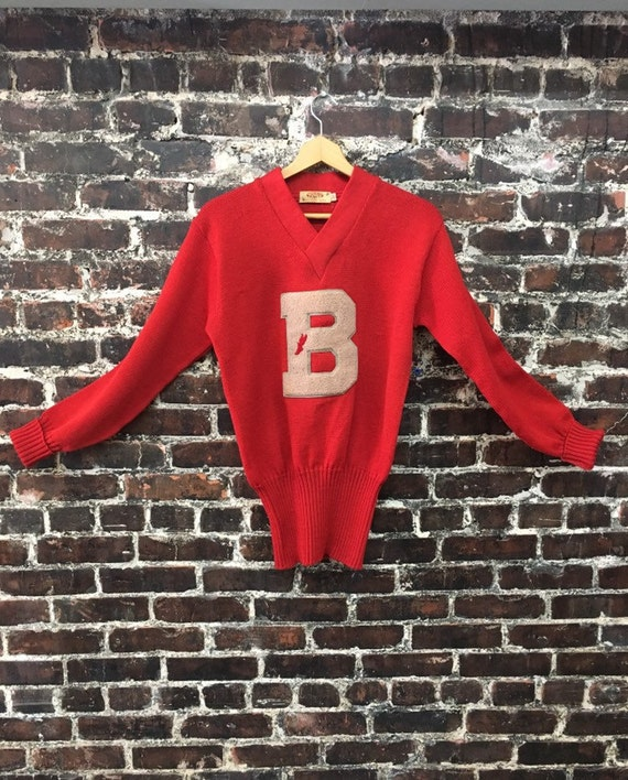 1950s Red Varsity Sweater. Wool Pullover Letterman
