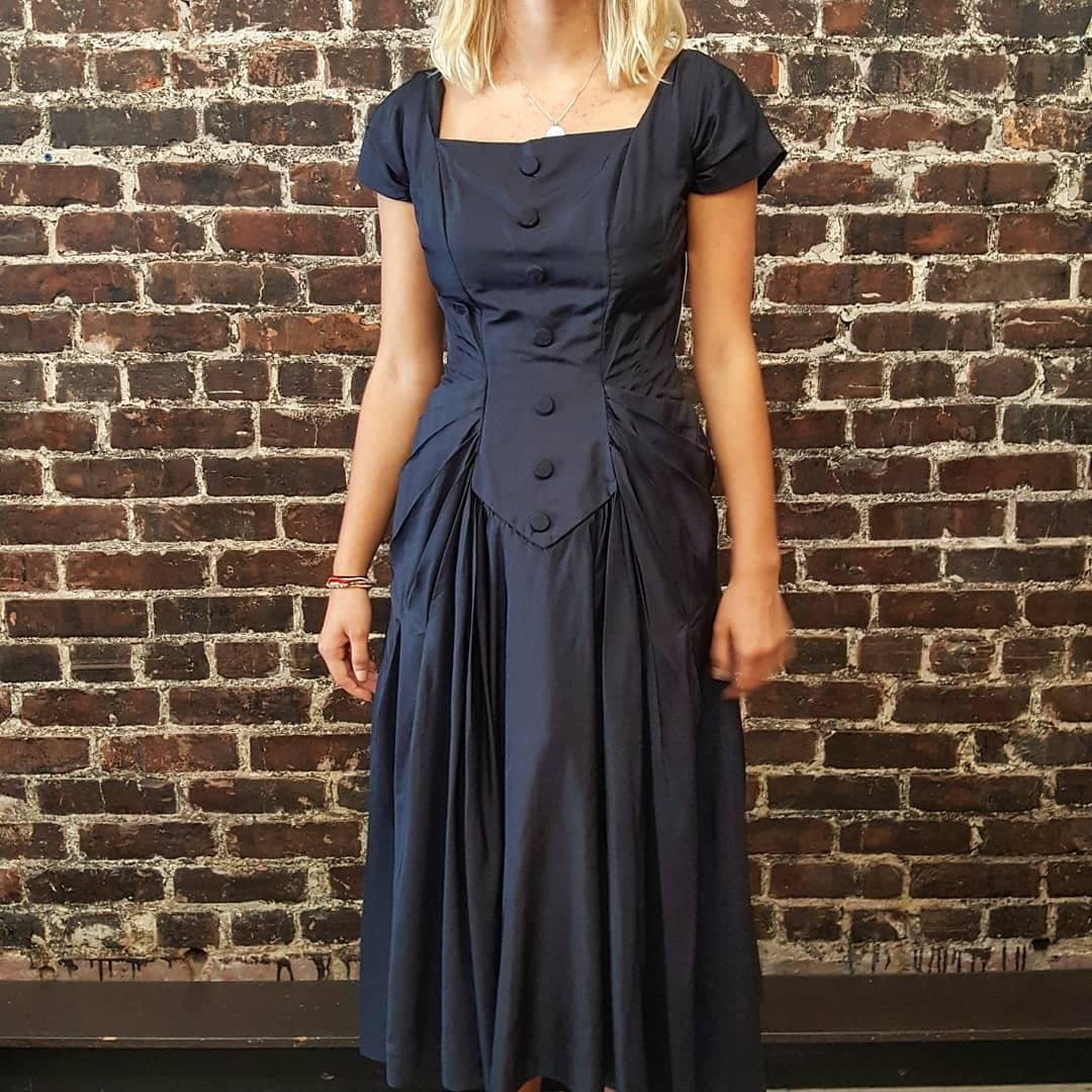 4069b35ac3ec3 Navy Blue 1950s Silk Dress with Crinoline by Tee-Ca Modes. | Etsy