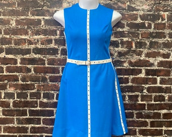 "1970s Blue Tank Dress with Mod White Stripe Trim and Matching Belt. Size Medium, 40"" Bust, 32"" Waist."