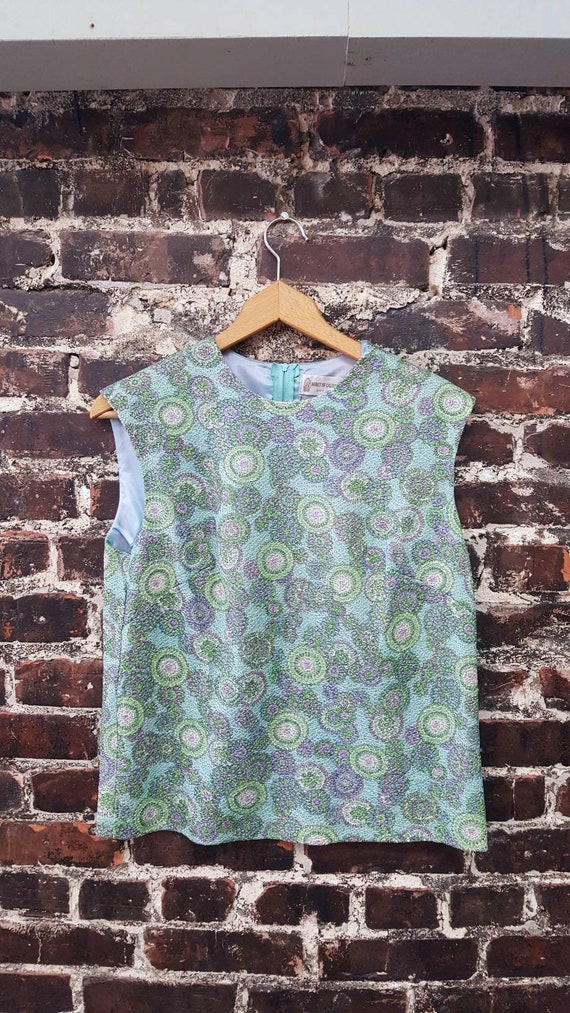 1960s Psychedelic Top. Teal and Purple Metallic Lu