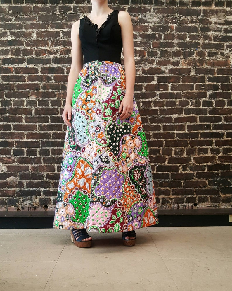 ed7637371e3 1970s Quilted Skirt Psychedelic Maxi Skirt in Purple