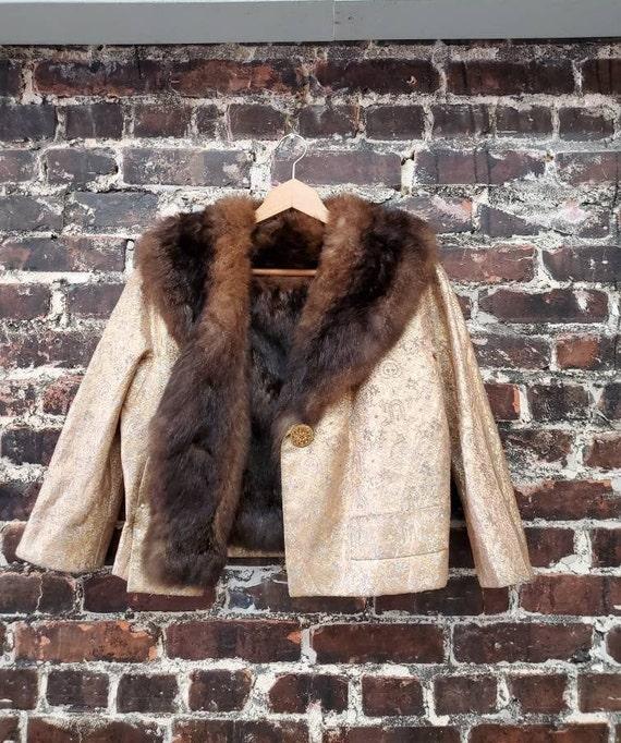 Gold Brocade Fur Jacket. 1950s 1960s Cropped Jacke