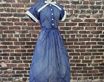 1950s Blue and White Polka Dot Dress. SHEER Swiss Dot Fit and Flare Dress with Bow. 50s Shirtwaist Dress by Shelby. Small, 34 B 28 W