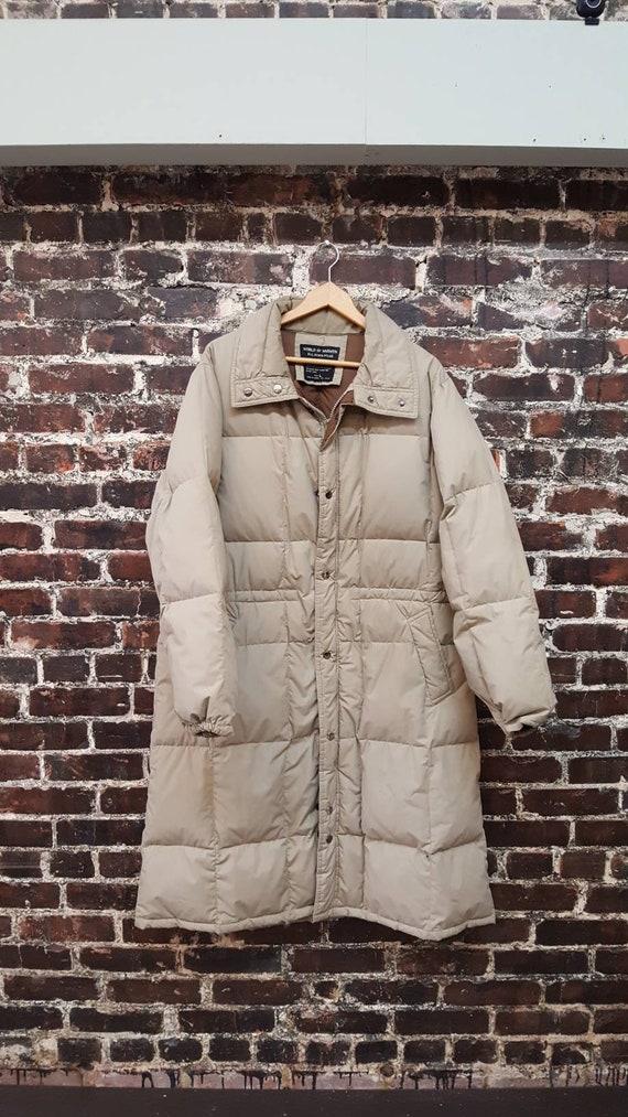 Long Puffer Coat. 80s Puffer Coat. Beige Taupe Dow