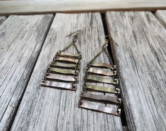 Mixed metal earrings--Industrial--Geometric--Ombre Earrings--Rustic Jewelry--Hammered Metal--Boho--Bronze--Dangle earrings--Copper Earrings