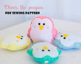 Oliver, the penguin - PDF sewing pattern, felt penguin, ornament, softie