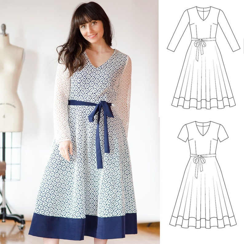 Kimberly Dress Women S Pdf Sewing Pattern Size 4 To 28 Etsy