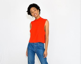 70s Fire Tank // turtleneck tank top, crop top, short top, vintage blouse, fire engine red, sustainable clothing