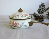 Vintage Enamelware Floral Ceramic Cooking Sauce Pot With Lid Casserole Dish, Cookware Designer Ceramic and Brass Pan