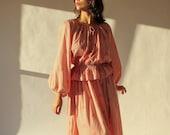 Vintage 70s Adri for Saks Fifth Avenue Blood Orange Peasant Peplum Dress with Floral Geometric Print 100 Cotton 1970s Prairie Dress