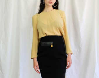 99b4b2c7ef789 80s Donna Karan Wool and Goat Skin Pencil Skirt