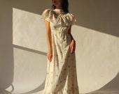 Vintage 70s Angelic White Floral Embroidered Prairie Maxi Dress with Violet Floral Print 1970s Western Style, Wedding Lace Boho Dress